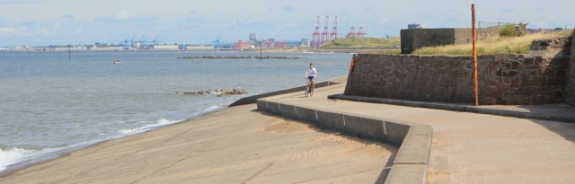 13 end of Wallasey Embankment, Ruth walking to Liverpool