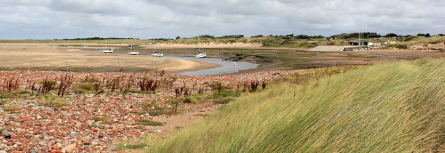 15 Hightown boat yard, Ruth hiking the Sefton Coast Path