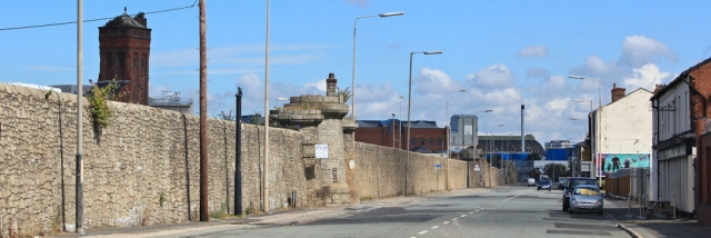 15 mock castle walls, Bootle, Ruth's coastal walk, Liverpool docks