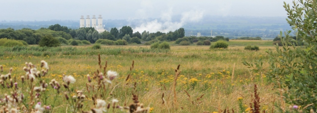 16 over the fields to Flint Power Station, Ruth hiking the Wirral