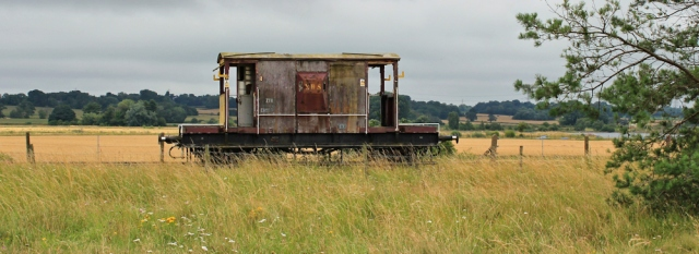 18 old railway car, Ruth hiking to Neston