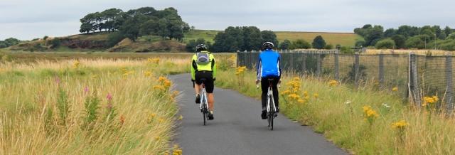 19 cyclists on the new cycle way to Neston, Ruth's coastal walk