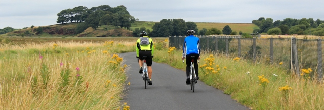 19 cyclists on the new cycle way to Neston, Ruth's coastal walk