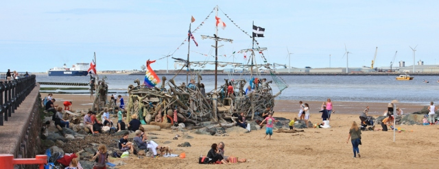 20 artwork ship, Ruth hiking the coast, Wallasey, Wirral
