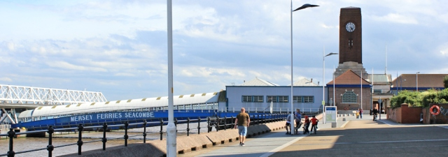 27 Seacombe ferry terminal, Ruth walking up the Mersey