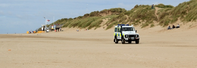 28 police car on Formby Beach, Ruth's coastal walk, Sefton