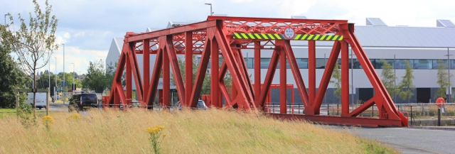 32 swing bridge, Alfred Dock, Ruth walking the Wirral