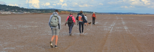 a06 walkers, hiking back from Hilbre Island, Ruth Livingstone