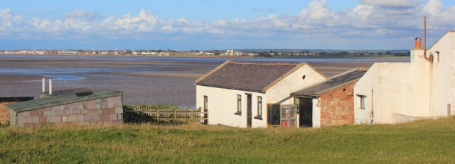 a13 bungalows on Hilbre Island, Ruth's coastal walk, Wirral