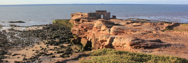 a16 ruin at end of Hilbre Island, Ruth's coastal walk, Wirral