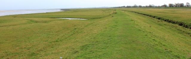 04 walking along the marsh bank, Ruth hiking around Britain