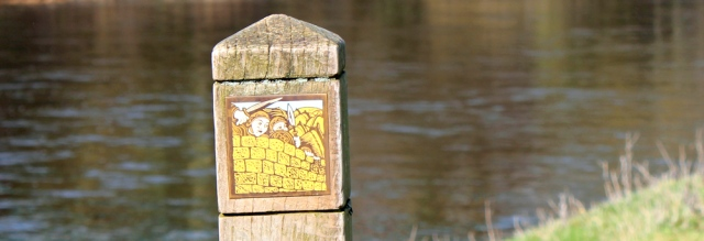 10 path markers, River Eden, Ruth's coastal walk to Scotland