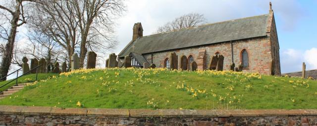 20 Beaumont Church, Ruth hiking the coast in Cumbria