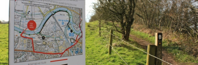 32 diversion sign, Hadrian's Wall Path, near Carlisle, Ruth Livingstone