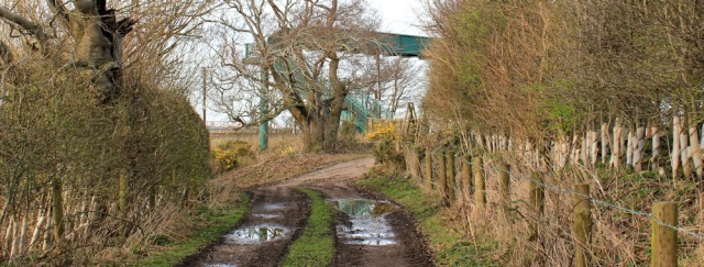 38 railway crossing to Metal Bridge, Ruth hiking from Carlisle to Gretna - Copy