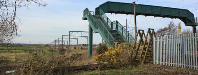 39 railway crossing to Metal Bridge with huge stile, Ruth Livingstone - Copy