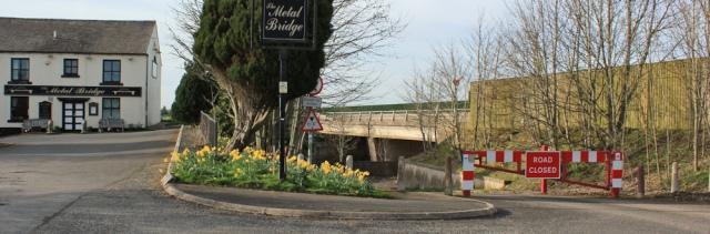 41 road closed at Metal Bridge, Ruth walking to Scotland - Copy