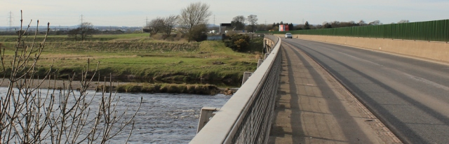 45 crossing the River Esk, Ruth Livingstone on Metal Bridge - Copy