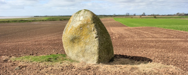 07 Lochmaben Stone, Ruth walking the Solway Coast, Scotland