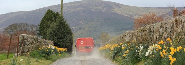 08 post office van, Ruth walking in Dumfries and Galloway