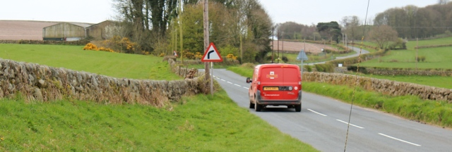 12 post office van again, Ruth walking in Dumfries and Galloway