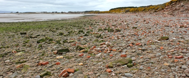 18 rubble strewn beach to Powfoot, Ruth's coastal walk, Dumfries and Galloway