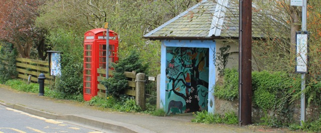 19 telephone box and bus stop, Kirkbean, Ruth Livingstone
