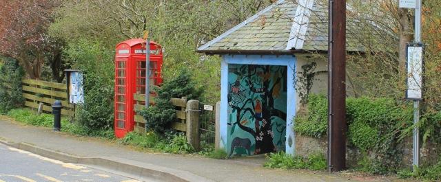 19 telephone box and bus stop, Kirkbean, Ruth Livingstone