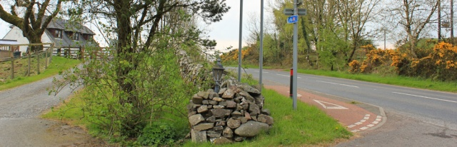 04 cycle route rejoins road, Ruth hiking to Wigtown, The Machars, Scotland
