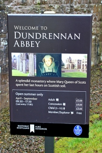 06b Dundrennan Abbey information sign, Ruth's coast walk in Scotland