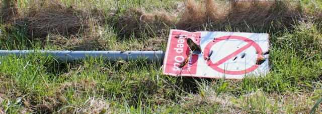 07 damaged sign, MOD range, Dundrennan, Ruth's coastal walk Dumfries and Galloway