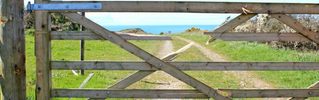 08 damaged gate, Dundrennan range, Ruth's coastal walk Dumfries and Galloway