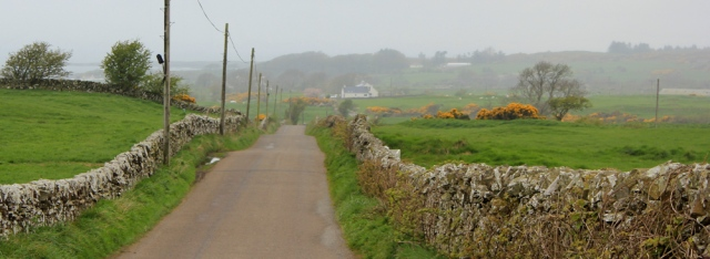 19 long road to Kirk Andrews, Ruth walking the coast of Scotland to Gatehouse of Fleet