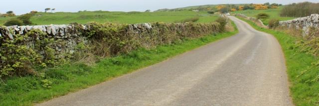 21 road to Knockbrex, Ruth walking the coast of Scotland to Gatehouse of Fleet