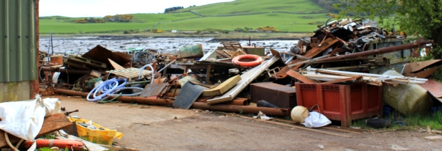 22 junk near Ross Bay, Ruth walking the coast of Dumfries and Galloway