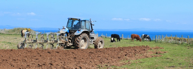 23 tractor, Ruth hiking to Whithorn
