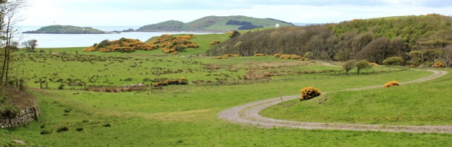 25 to Torrs Point, Ruth hiking in Scotland, Kirkcudbright Bay