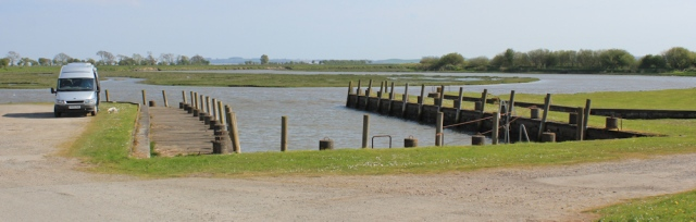 26 Wigtown Harbour, Ruth walking the coast of Scotland