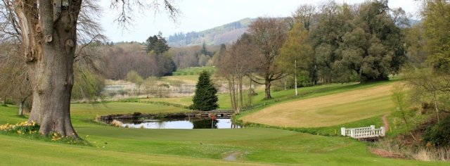 36 Cally Palace Hotel grounds, Ruth walking the coast of Scotland to Gatehouse of Fleet