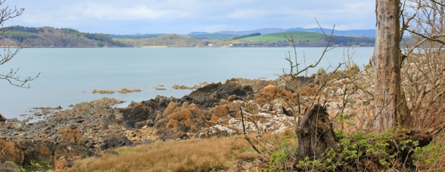 37 view over Kirkcudbright Bay, Ruth hiking in Scotland