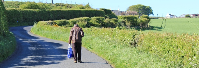 01 bus passenger to Drummore, Ruth's coastal walk, The Rhins, Scotland