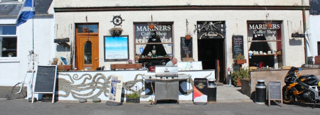 02 Mariners coffee shop, Drummore, Ruth walking the Mull of Galloway Trail, Scotland