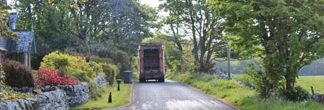 05 dustbin lorry, Ruth's coatal walk, The Rhins, Galloway, Scotland