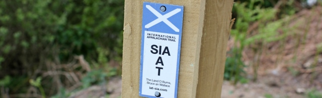06 International Appalachian Trail sign, Ruth hiking the Mull of Galloway Trail, Scotland