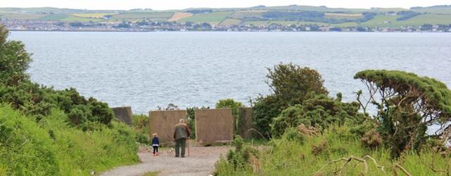 08 Loch Ryan path, Ruth walking around the coast of Scotland