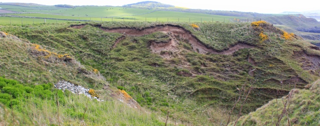 12 landslip of core path, Ruth walking the coast in Dumfries and Galloway, Scotland