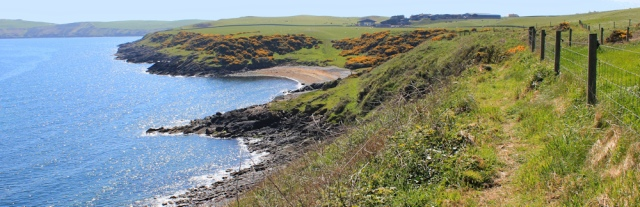 14 along cliffs to East Tarbet, Ruth walking the Mull of Galloway Trail, Scotland