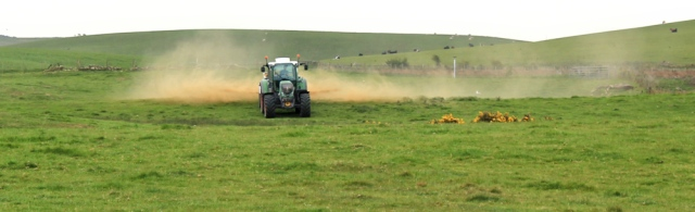 14 fertilising tractor, Ruth's coastal walk, The Rhins, Galloway