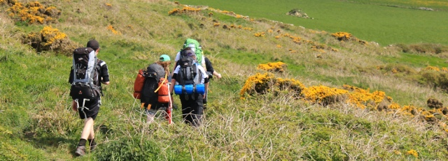 19 young Duke of Edinburgh hikers, Auchenmalg, Ruth on the Scottish coast