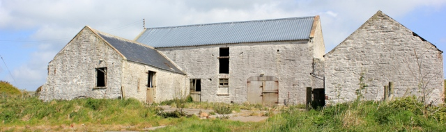 24 abandoned farm buildings, Ruth hiking through The Rhins, Galloway, Scotland